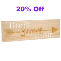 Home Sweet Home Soft Wood and Metal Gold Arrow Wall Sign Plaque